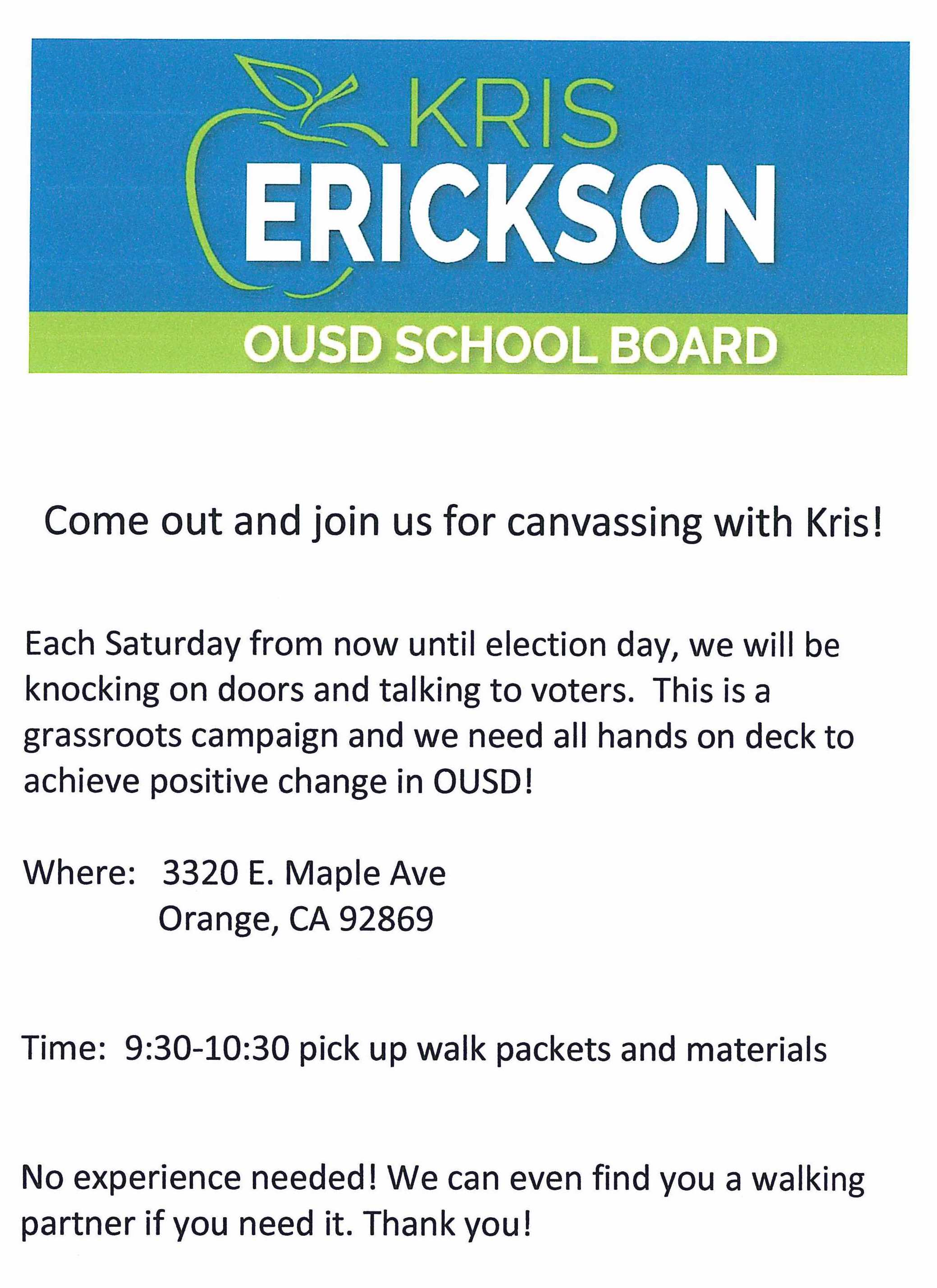 Canvassing Erickson flyer